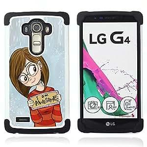 """LG G4 H815 H810 H811 LS991 LS986 US991 H815 U812 - 3 en 1 impreso colorido de Altas Prestaciones PC Funda chaqueta Negro cubierta gel silicona suave (Inteligente impresionante inspirada Chica Gafas"""")"""