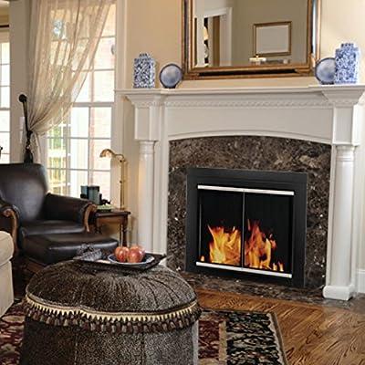 Pleasant Hearth AP-1130 Alsip Fireplace Glass Door, Black