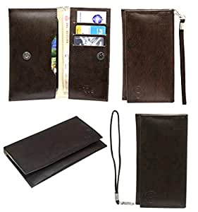 Jo Jo A5 G3 Leather Wallet Universal Pouch Cover Case For Allview V2 Viper e Dark Brown