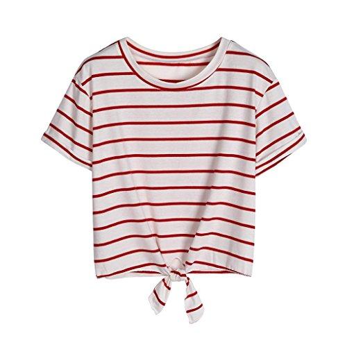 T-Shirt Femme Ete 2018 Ansenesna Femme t-Shirt Manches Courtes Strips Minimaliste Tee Col Rond +1 Paire de Lunettes de Soleil Élégantes Blanc