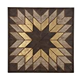 Deco 79 98726 Wooden Snowflake Wall Plaque, 32'' x 31'', Black/White/Yellow