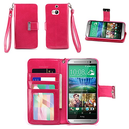 IZENGATE HTC One M8 (2014) Wallet Case - Executive Premium PU Leather Flip Cover Folio with Stand (Deep Rose Pink) (Htc One M8 Wallet Case Strap)