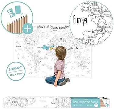 Grosse Weltkarte Fur Kinder Zum Ausmalen Xxl 100 X 70 Cm Poster Mit