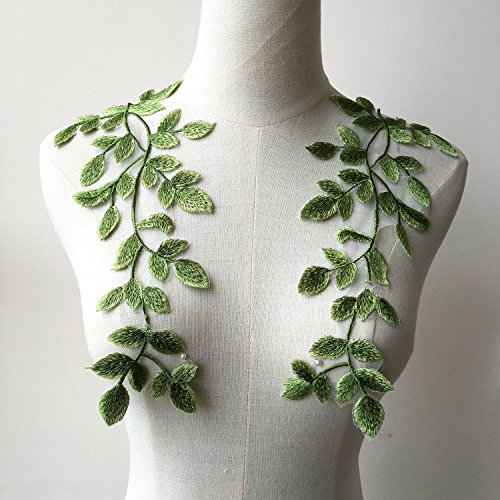 (Mirror Pair Green Forest Leaves Applique Lace Vine Motif Trims Embroidery Vine Sewing Patches for Craft Projects Lyrical Gown)