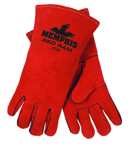 MCR Safety 4720 13-Inch Red Ram Split Cowhide Leather Welder Men's Gloves with Wing Thumb, Russet, X-Large
