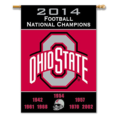 NCAA Ohio State Buckeyes 2-Sided 28 x 40-Inch Banner with Pole Sleeve Champ Years, Team Color, One Size (Ncaa Products Banner Bsi)