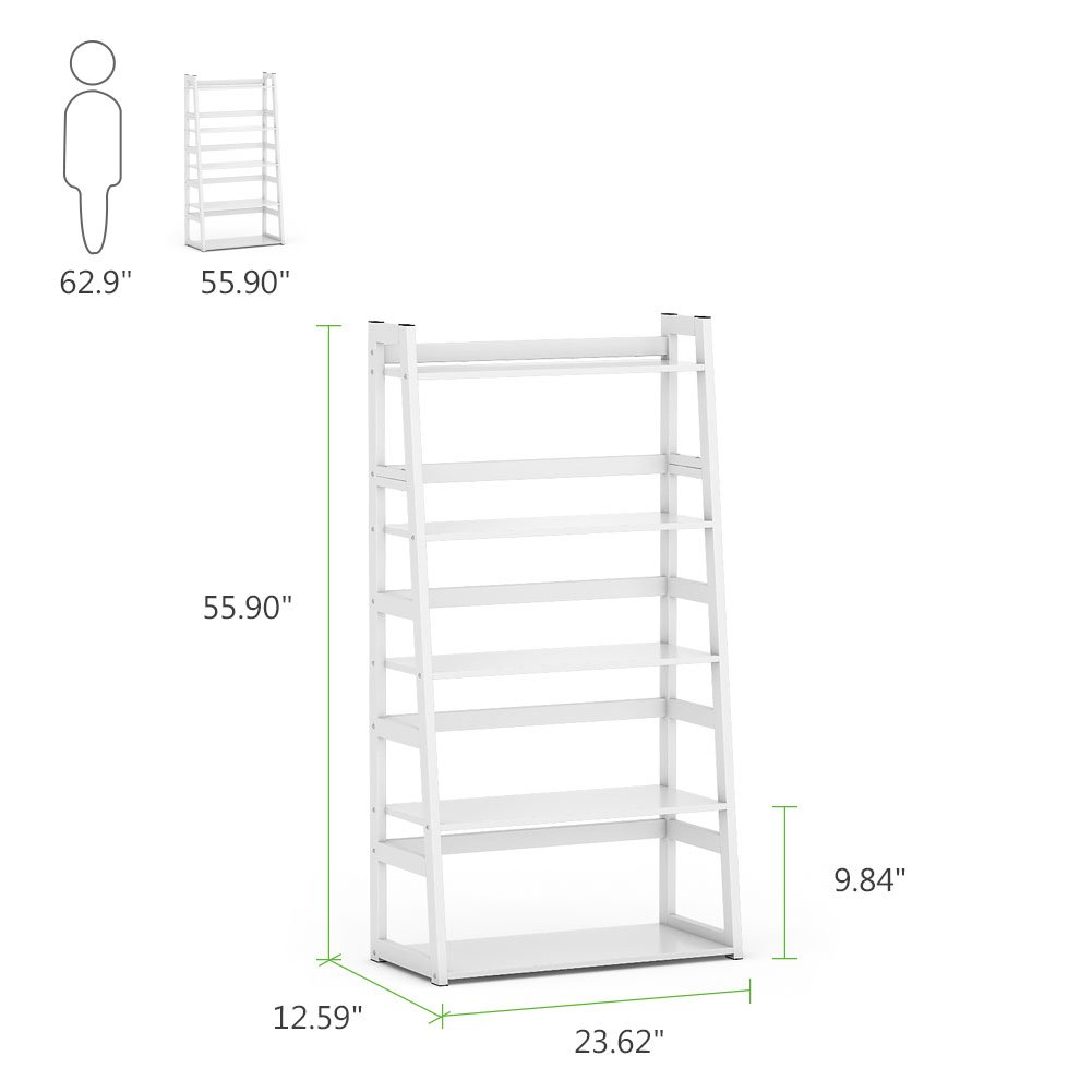 Tribesigns 5-Tier Bookshelf Modern Bookcase, Freestanding Leaning Ladder Shelf, Ample Storage Space for CD, Books, Home Decor (White) by Tribesigns (Image #7)