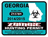 GEORGIA Zombie Hunting Permit 2014/2015 Car Decal / Sticker