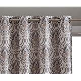 """HLC.ME Verona Damask 100% Full Blackout Room Darkening Thermal Insulated Curtain Grommet Panels for Bedroom - Energy Efficient, Complete Darkness, Noise Reducing- Set of 2 (Neutral, 52"""" W x 63"""" L)"""