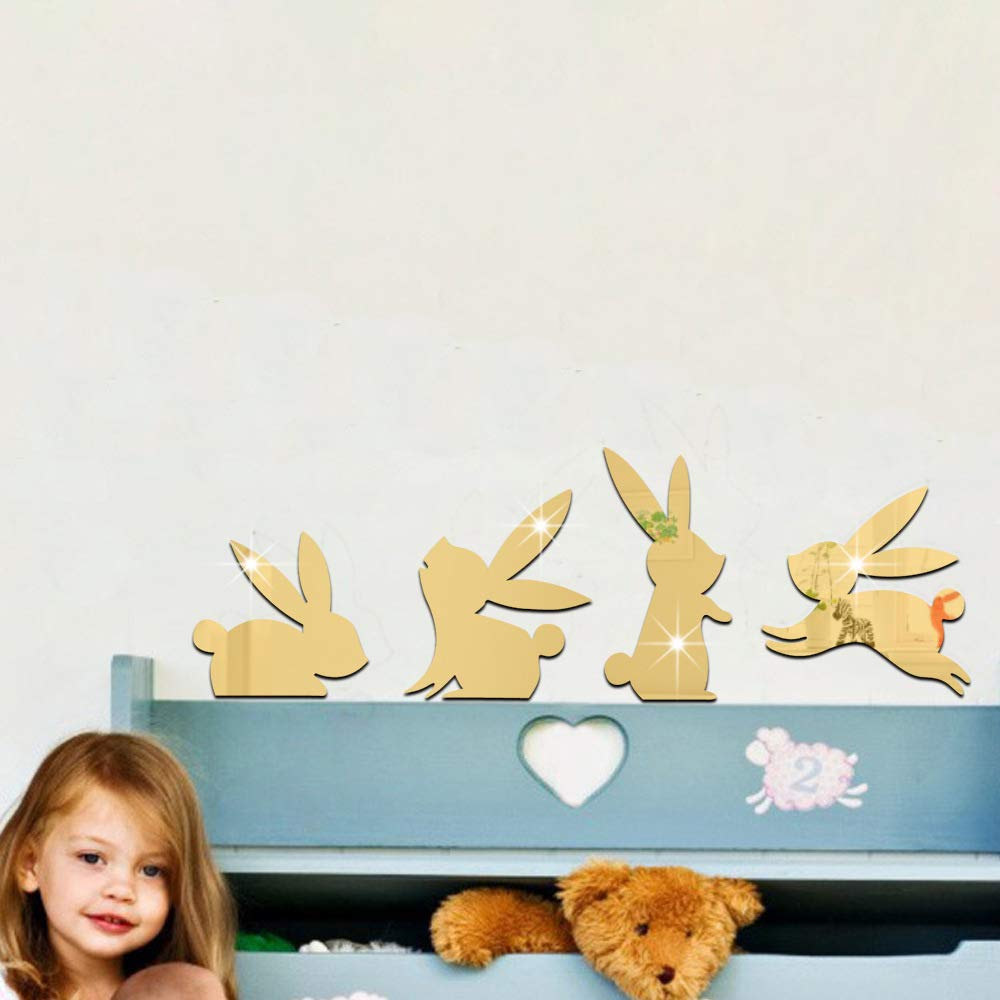 Wall Decor Stickers Mirror Babes Kids Bedroom Bunnies Silver