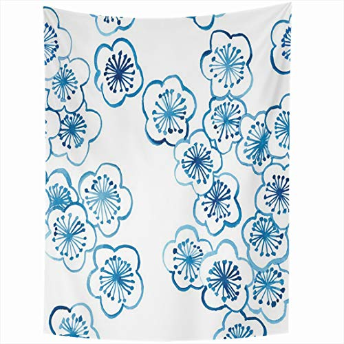 Cherry Blossom Floral Porcelain - Ahawoso Tapestry 60x90 Inch White Blue Pattern Cherry Blossom Ceramics Hand Asia Nature Porcelain Floral Water Design Old Wall Hanging Home Decor for Living Room Bedroom Dorm