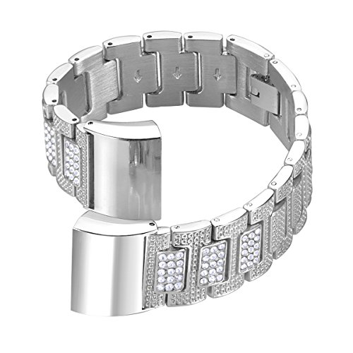 bayite Metal Bands for Fitbit Charge 2 Rhinestone Bling Bracelet Replacement Accessory Straps Silver