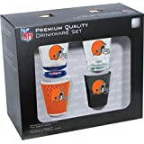 Hunter Manufacturing NFL Cleveland Browns Shot Glass Collector Set (4-Piece), 2-Ounce, Clear
