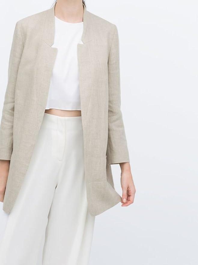 Amazon.com: Zara rústico Lino Blazer BNWT café L: Clothing