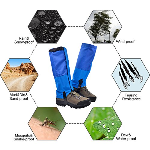 Leanking Leg Gaiters, Waterproof Snow Boot Gaiters 600D Anti-Tear Oxford Fabric Outdoor Waterproof Snow Leg Gaiters for Outdoor Hiking Walking Hunting Climbing Mountain (Blue, M) by Leanking (Image #1)
