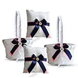 Roman Store Ivory Ring Bearer Pillow and Basket Set   Lace Collection   Flower Girl & Welcome Basket for Guest   Handmade Wedding Baskets & Pillows (Coral Navy Blue)