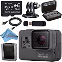 GoPro HERO5 Black CHDHX-501 + Sony 64GB microSDXC + Custom GoPro Case for GoPro HERO and GoPro Accessories + Tripod Adapter For GoPro Bundle
