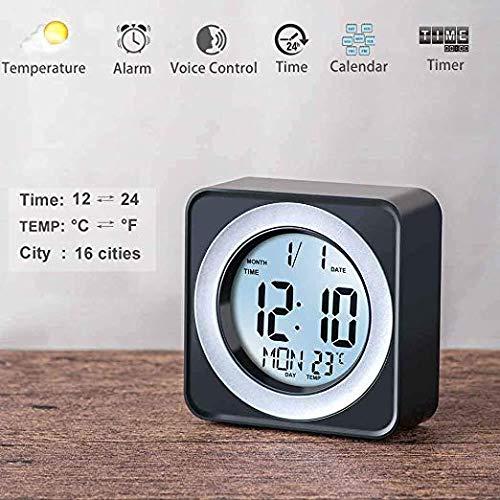 WorldSeng Alarm Clock,Kids Alarm Clock,Digital LCD Display Portable Modern Alarm Clock with Snooze Time Temperature, Calendar,Table Clock,Sound Sensor Smart Nightlight, Digital Desk Clock, Smart Clock