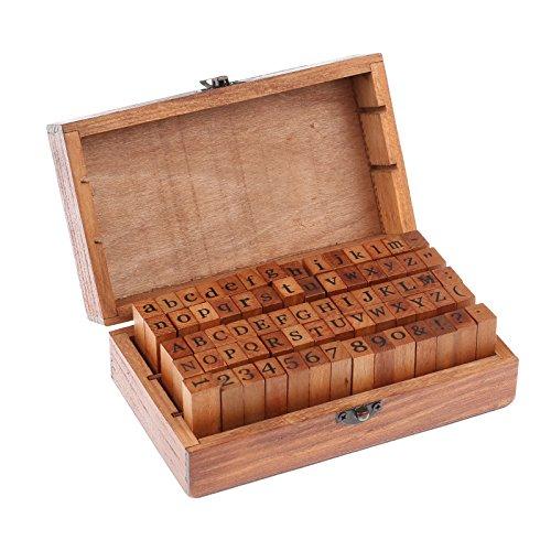 (ONEVER 70Pcs Wooden Rubber Alphabet Letter Number Stamps Stamper Seal Set Capital Upper Lower Case for Kids (Dark Wooden) )