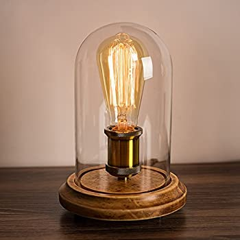 Surpars House Vintage Desk Lamp Glass Shade Table Lamp Edison Bulb ...