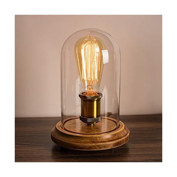 Surpars House Vintage Desk Lamp Glass Shade Table Lamp Edison Bulb Included 4