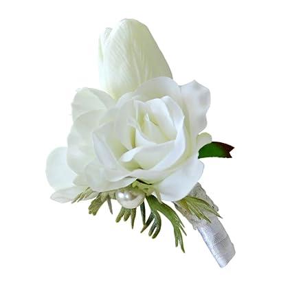 Buy segolike wedding bouquet bride holding wrist flowers pearl segolike wedding bouquet bride holding wrist flowers pearl corsage flower girl home party prom decor mightylinksfo