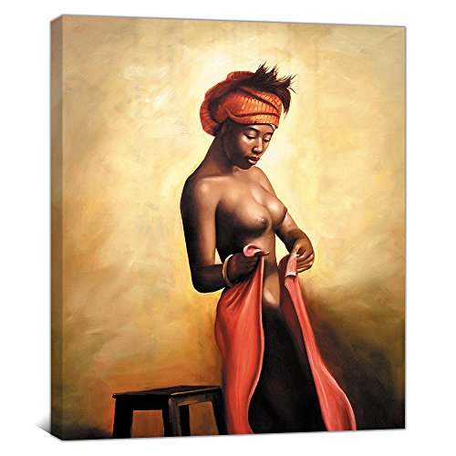 Yatsen Bridge Sexy Naked African Americans Girl Printed Painting on Canvas Wall Art Nude Prints Picture Home Decoration Hotel Framed (70x90cm)