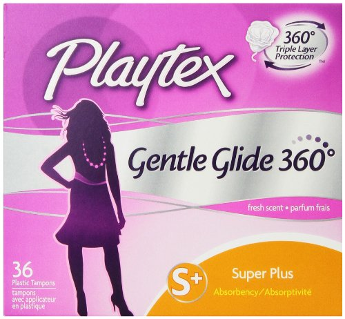 Playtex Gentle Glide Tampons with Triple Layer Protection,  Super Plus ,  Fresh Scent - 36 Count (Pack of 2) Comfort Plus Tampons