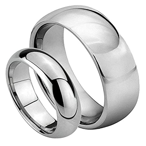 His & Her's 8MM/6MM Tungsten Carbide Classic Domed Shiny High Polish Wedding Band Ring Set (His And Her Rings Tungsten)