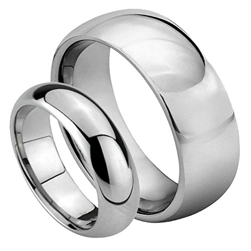 His & Her's 8MM/6MM Tungsten Carbide Classic Domed Shiny High Polish Wedding Band Ring Set