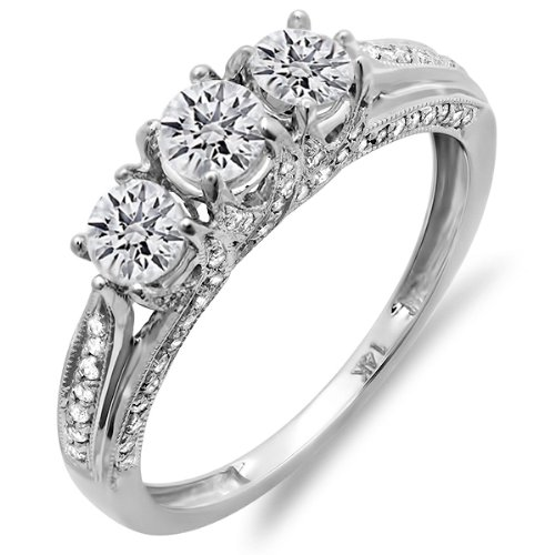 100-Carat-ctw-14K-Gold-Round-Diamond-Vintage-Bridal-3-Stone-Engagement-Ring-1-CT