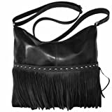 Leather Fringe Hobo Handbag,One Size,Black