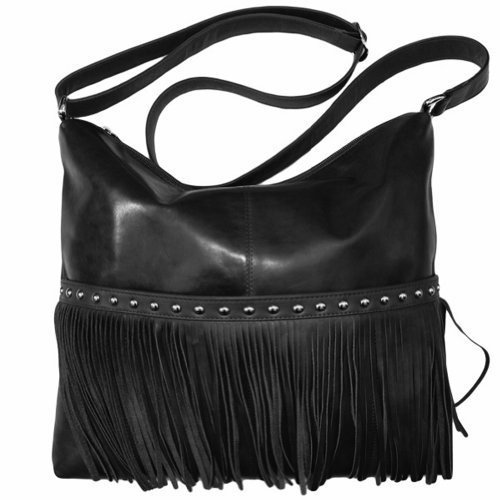 Leather Fringe Hobo Handbag,One Size,Black by ILI