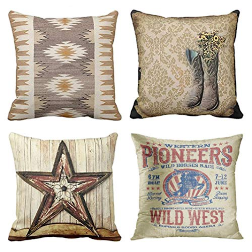 Emvency Set of 4 Throw Pillow Covers Western Country Cowboy Barn Colorful Tribal Nature Color Geometric Patterns Decorative Pillow Cases Home Decor Square 18x18 Inches Pillowcases (Couch Covers Western)
