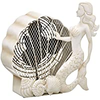 DecoBREEZE Table Fan Two-Speed Electric Circulating Fan, White Mermaid Figurine Fan