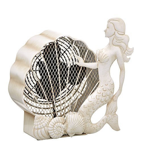 DecoBREEZE Table Fan Two Speed Electric Circulating Figurine Fan, 7 in, Mermaid Deco Breeze Table