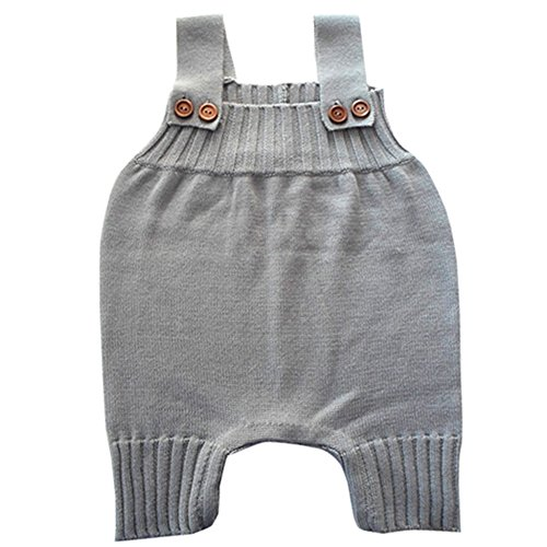 Wennikids Baby Girls Boys Sweater Shoulder Strap Romper Medium Grey