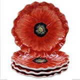 Poppy Garden 3-D Dessert Plates, 8'', Set of 4