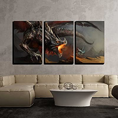 Alluring Object of Art, Made With Love, Fantasy Scene Knight Fighting Dragon x3 Panels