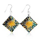 Sterling Silver Hand Painted Murano Glass Golden Flower Blue Art Square Dangle Earrings 2""
