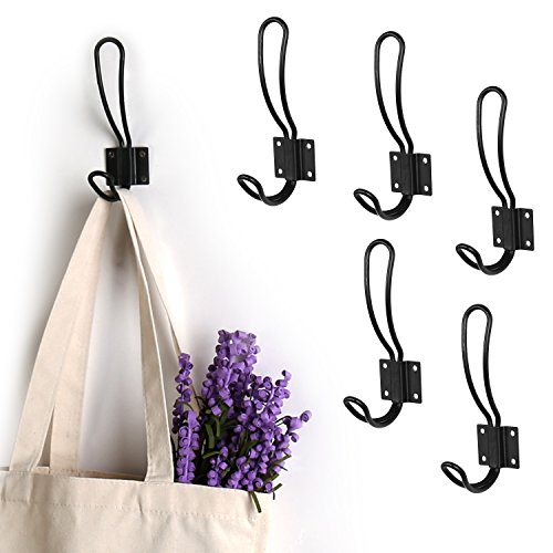MyGift 6-Piece Loop Design Matte Black Metal Coat Hook Hanger Set