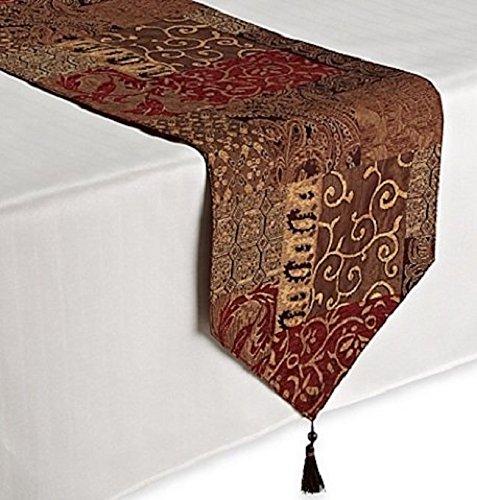 Croscill Galleria Red Patchwork Jacquard Table Runner, Paisley, Damask, Diamond, and Lattice motifs, 108