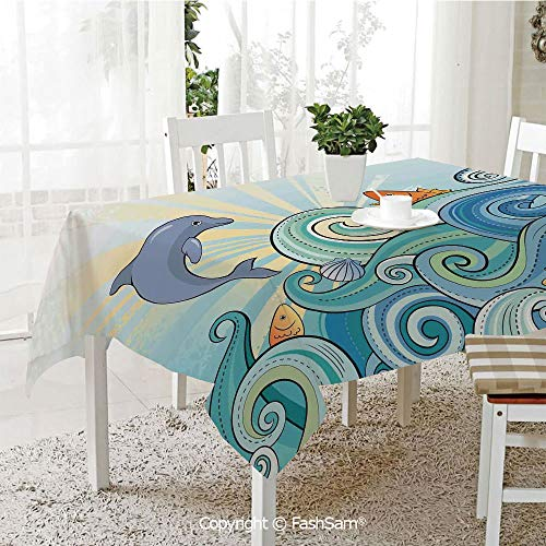 AmaUncle 3D Print Table Cloths Cover Cartoon Dolphin Fish Starfish Shells Lights in Ocean Marine in Summer Pattern Table Protectors for Family Dinners (W55 xL72) -