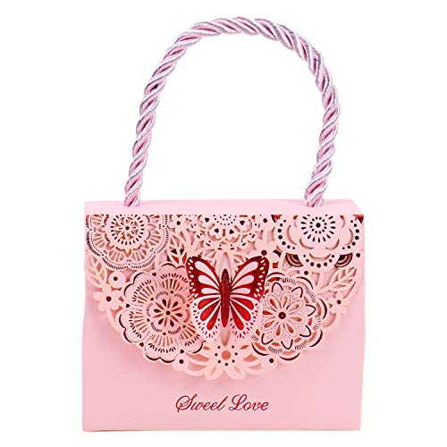 - Monrocco 20PCS Wedding Decorative Pink Boxes Gift Bags Butterflies with Handle, Party Favor Bags Paper for Anniversary Birthday Parties