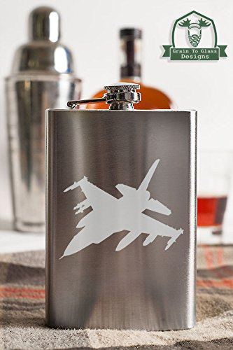 Pilots F-16 - F-16 Fighting Falcon 8 Ounce Stainless Steel Flask