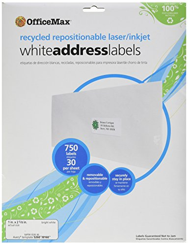Recycled Address Labels - OfficeMax Laser/Ink Jet Recycled Repositionable White Address Labels, 1 x 2-5/8 Inches, 30 per Sheet, 750 Labels per Pack (OM04868)