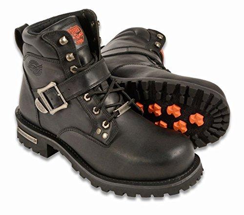 Black Buckle Biker Boots - 8