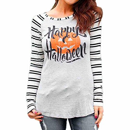 GREFER Women Tops Stripe Casual Print Blouse Fashion Tops Happy (Paper Halloween Stripe)