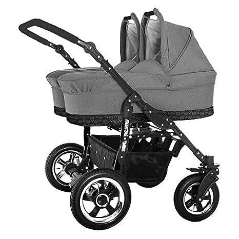 Carro doble gemelar 3en1. 2 capazos + 2 sillas + 2 grupo 0 + accesorios. Lino gris. BBtwin: Amazon.es: Bebé