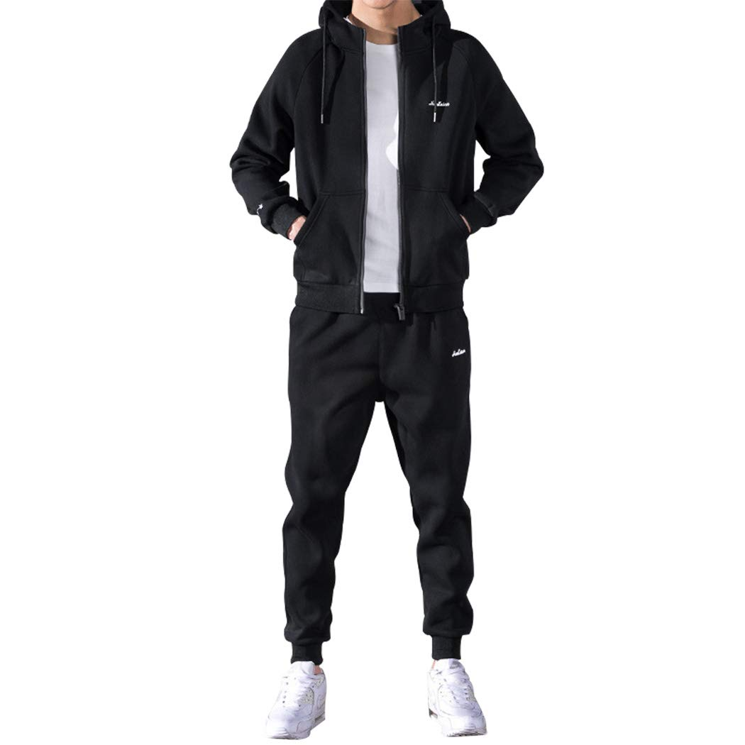 Modern Fantasy Men's Casual Activewear Tracksuits Jackets/Hoodie & Pants Set Jogging Sweat Suit Black XL by Modern Fantasy